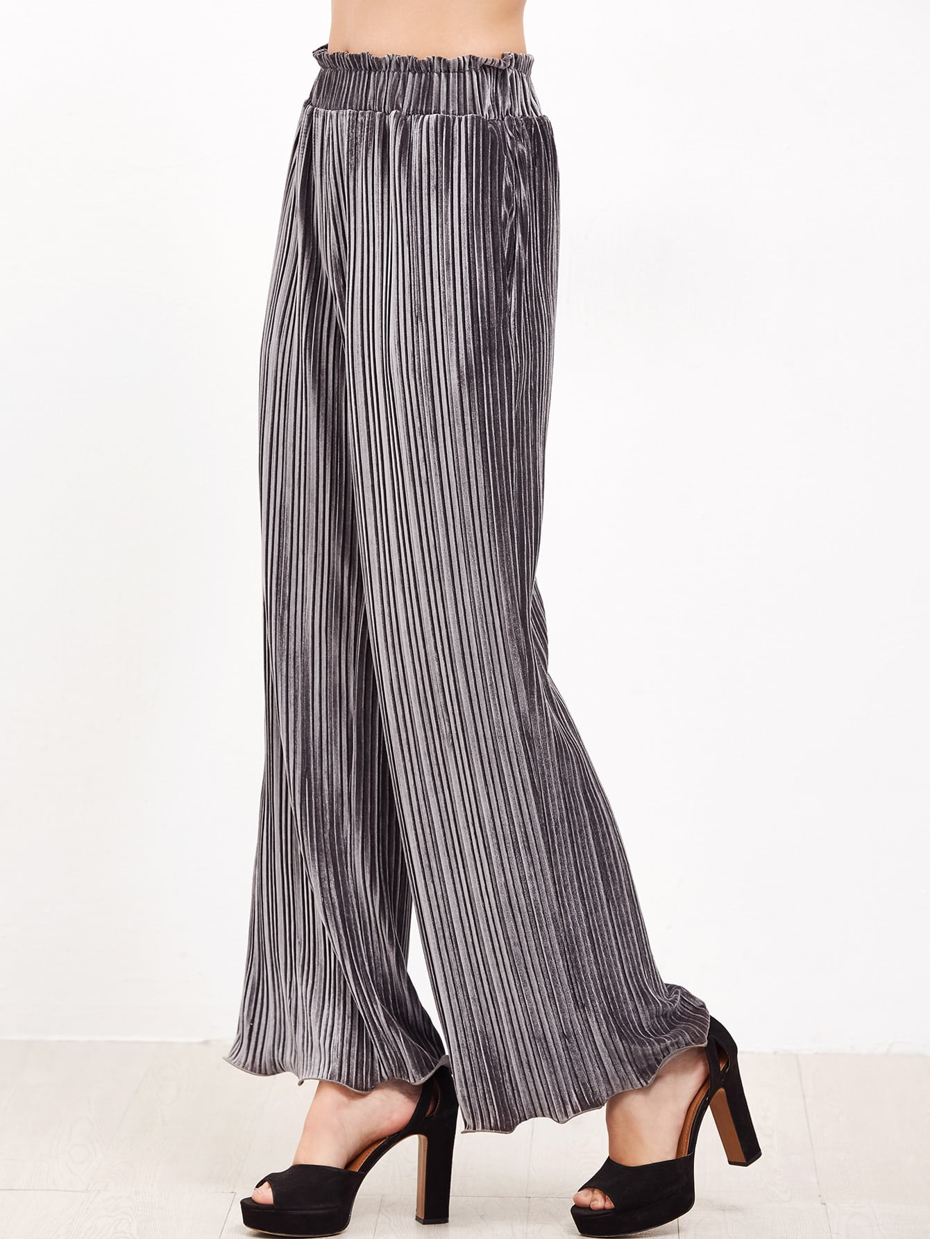 Grey Frilled Waist And Hem Wide Leg Pleated Velvet PantsGrey Frilled Waist And Hem Wide Leg Pleated Velvet Pants<br><br>color: Grey<br>size: M,S,XS
