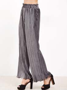 Grey Frilled Waist And Hem Wide Leg Pleated Velvet Pants