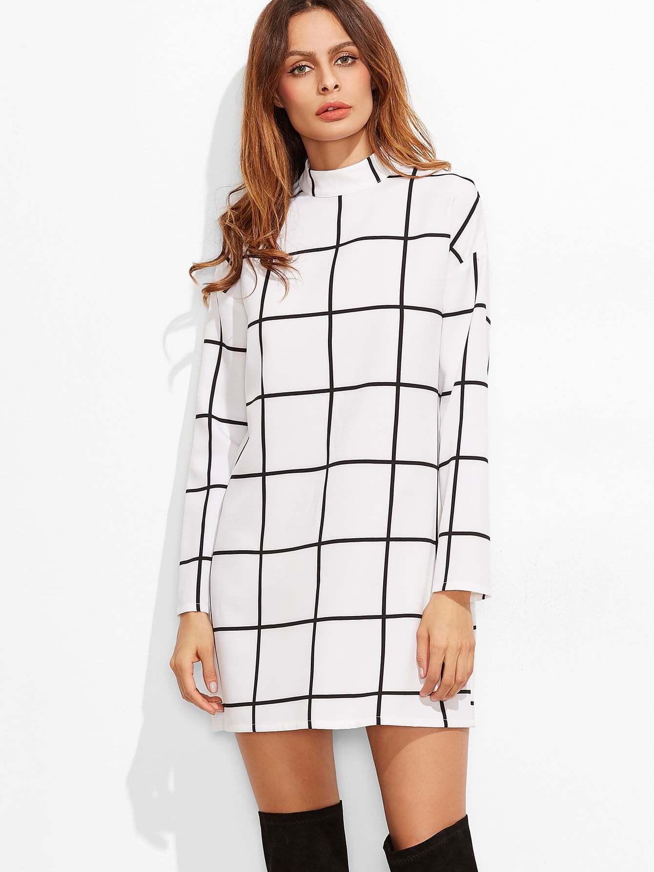 White Grid Mock Neck Tunic DressWhite Grid Mock Neck Tunic Dress<br><br>color: White<br>size: XS