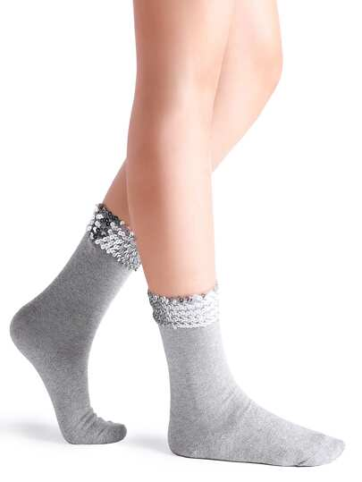 Grey Handmade Sequin Sparkly Socks