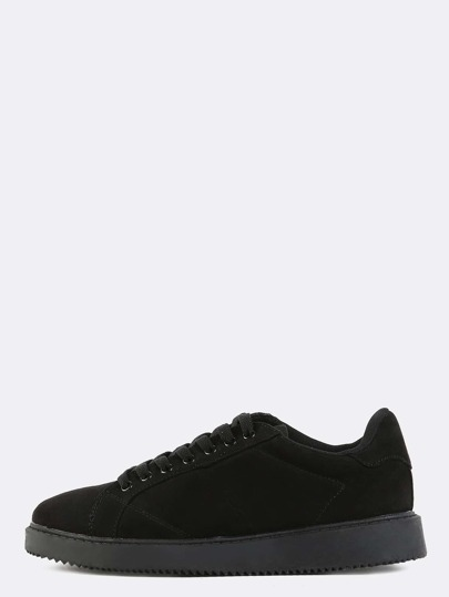 Lace Up Faux Suede Sneakers BLACK
