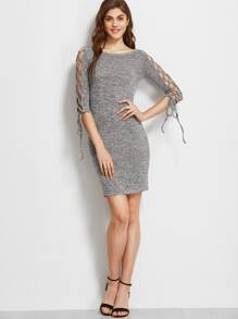 Grey Marled Boat Neck Lace Up Raglan Sleeve Bodycon Dress