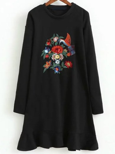 Black Floral Embroidery Ruffle Hem Dress