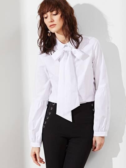 White Tie Neck Lantern Sleeve Blouse