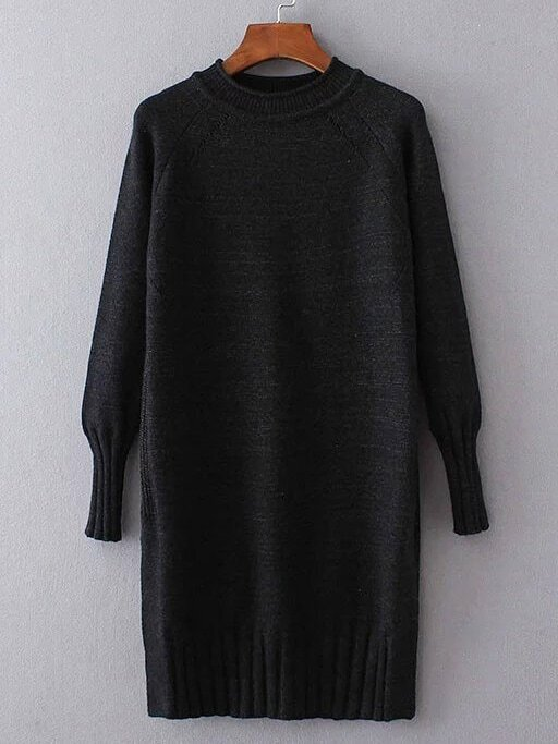 Black Ribbed Trim Long Sweater sweater161203201