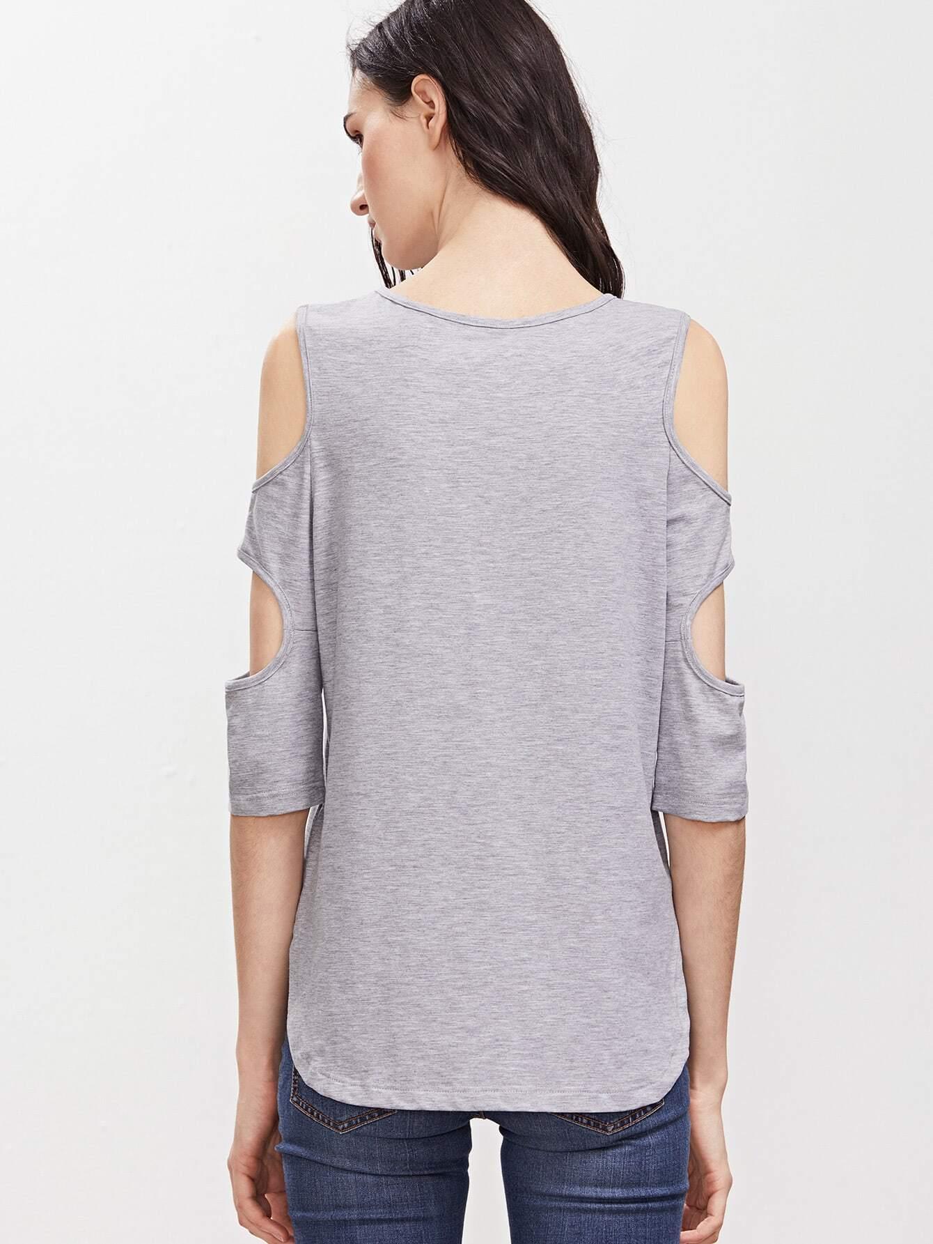Cutout 3 4 sleeve t shirt shein sheinside for 3 4 sleeve shirt template