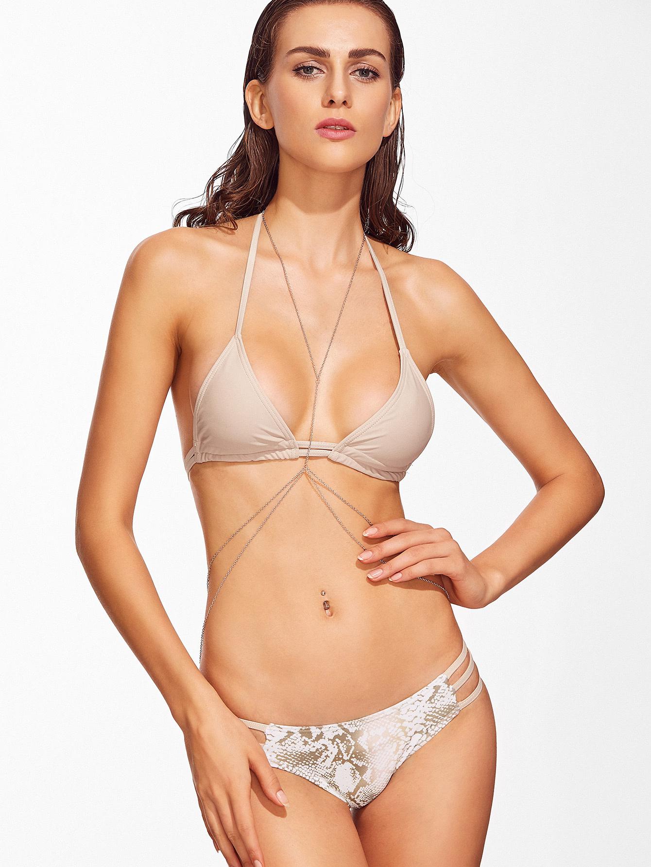 Snake Print Halter Strappy Bikini Set swimwear161124310