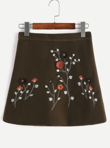 Army Green Velvet Flower Embroidered A-Line Skirt