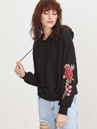 Black Drop Shoulder Embroidered Flower Applique Hoodie