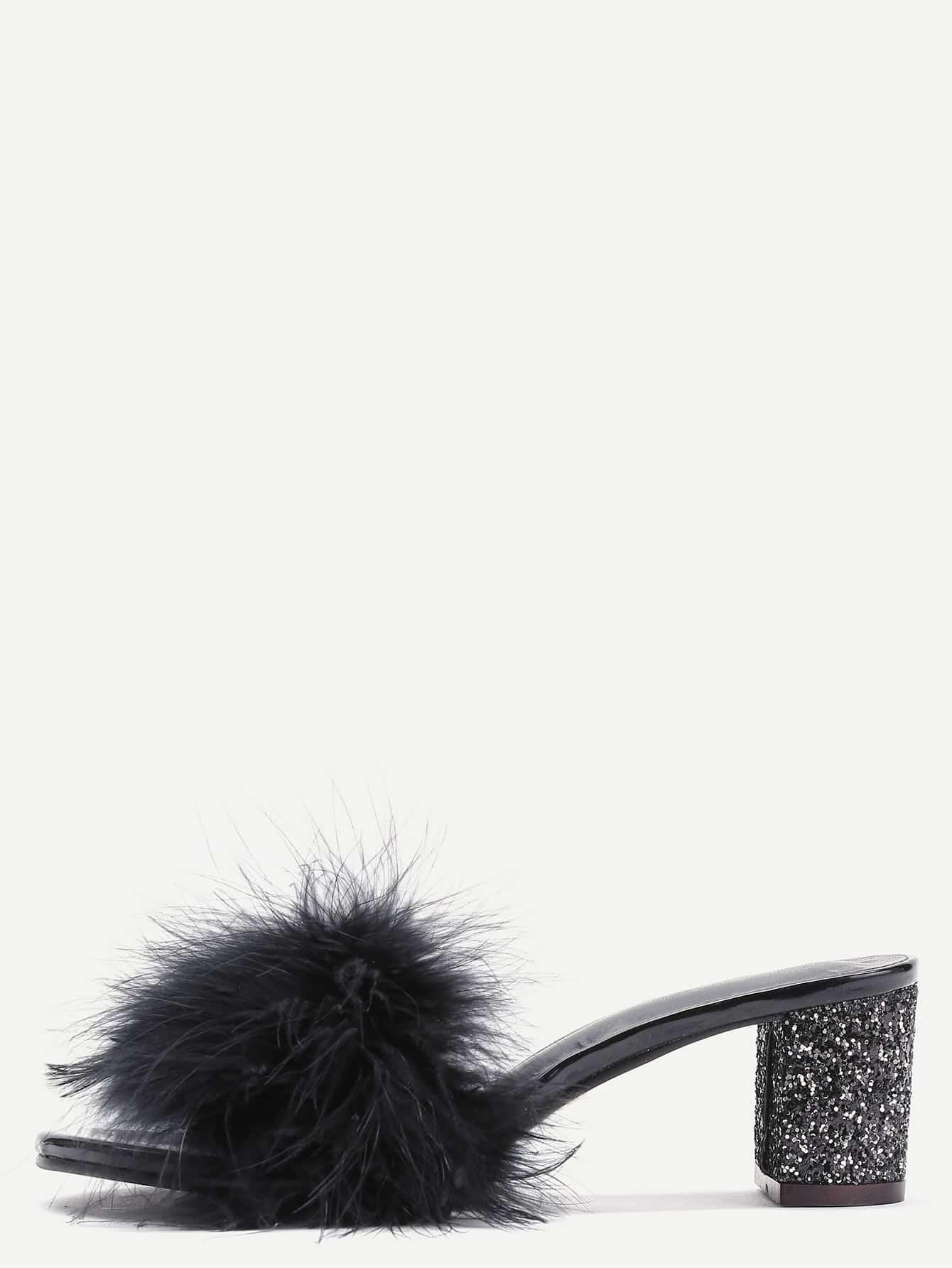 Black Feather Furry Slides Heeled SlippersBlack Feather Furry Slides Heeled Slippers<br><br>color: Black<br>size: EUR36,EUR37,EUR39