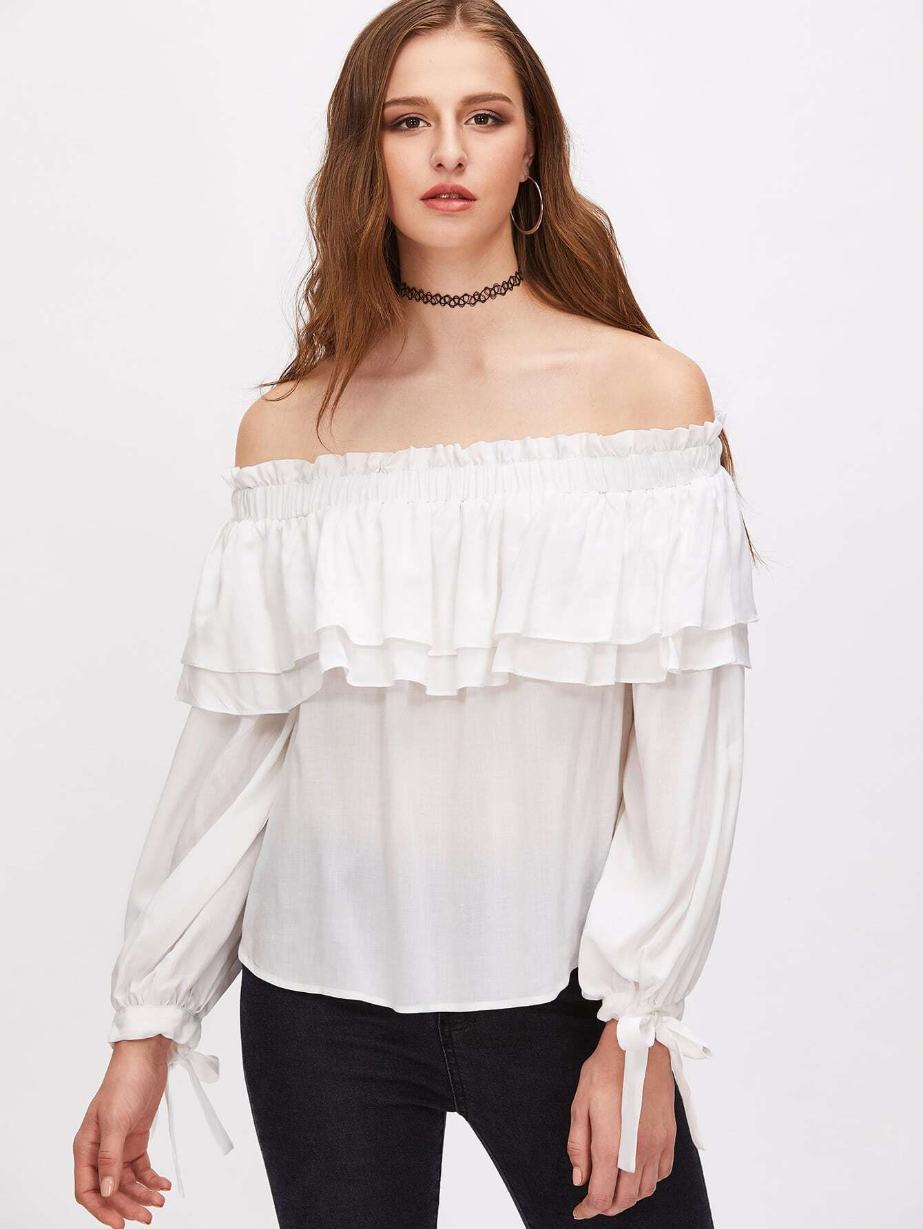 Фото White Off The Shoulder Tie Sleeve Layered Ruffle Top. Купить с доставкой
