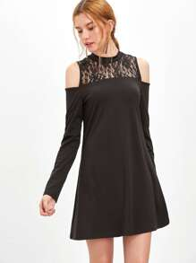Black Floral Lace Neck Cold Shoulder A Line Dress