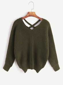 Army Green Double V Neck Criss Cross Back Sweater