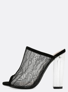 Sheer Lace Perspex Mule Heels BLACK