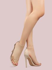 Clear Strap Suede Stilettos NUDE
