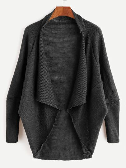 Black Drape Front High Low Cocoon Cardigan