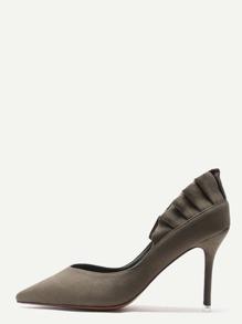 Dark Olive Green Suede Point Toe Flounce Trim Stiletto Heels