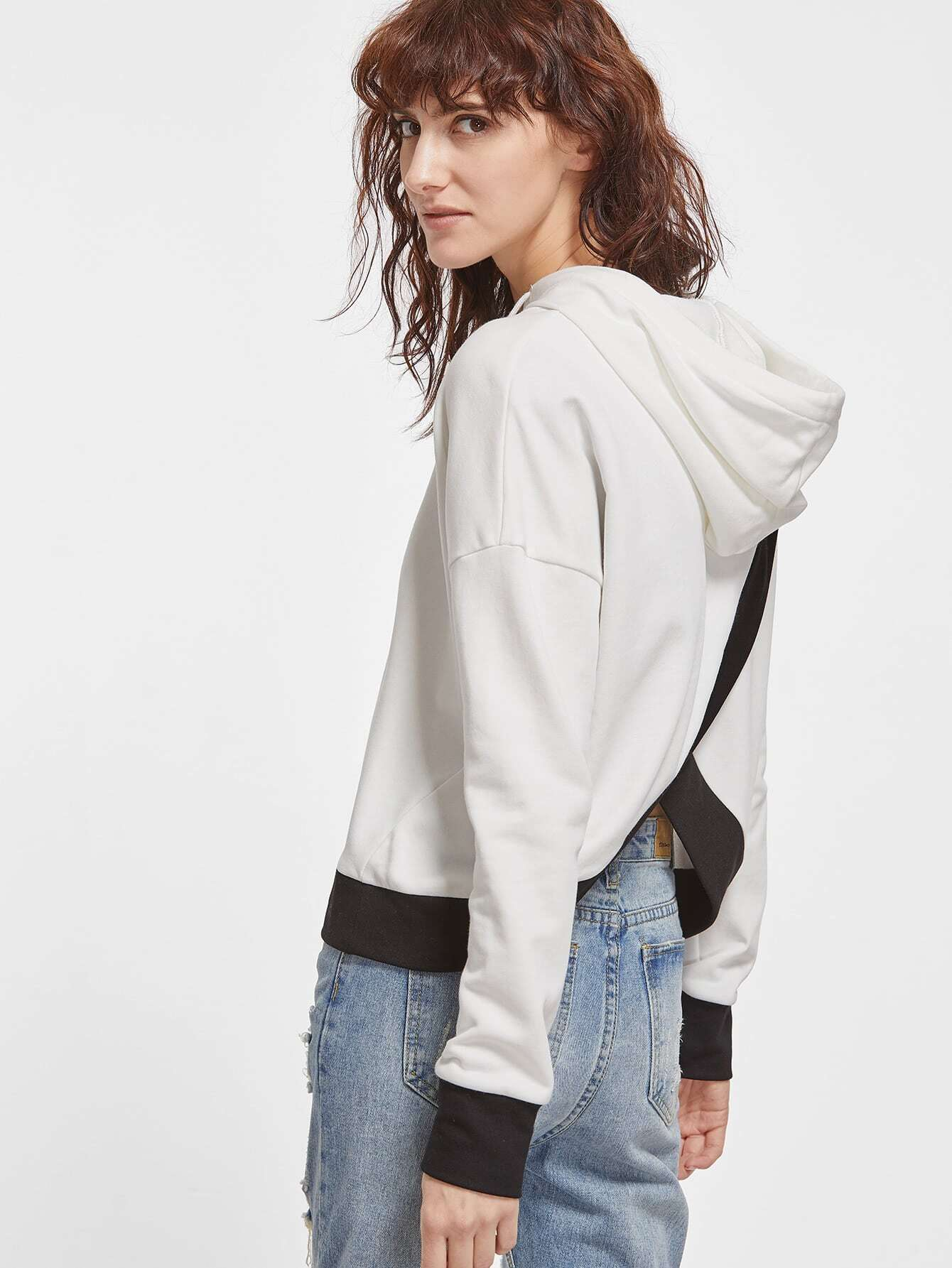 White Drop Shoulder Contrast Trim Split Back Hoodie
