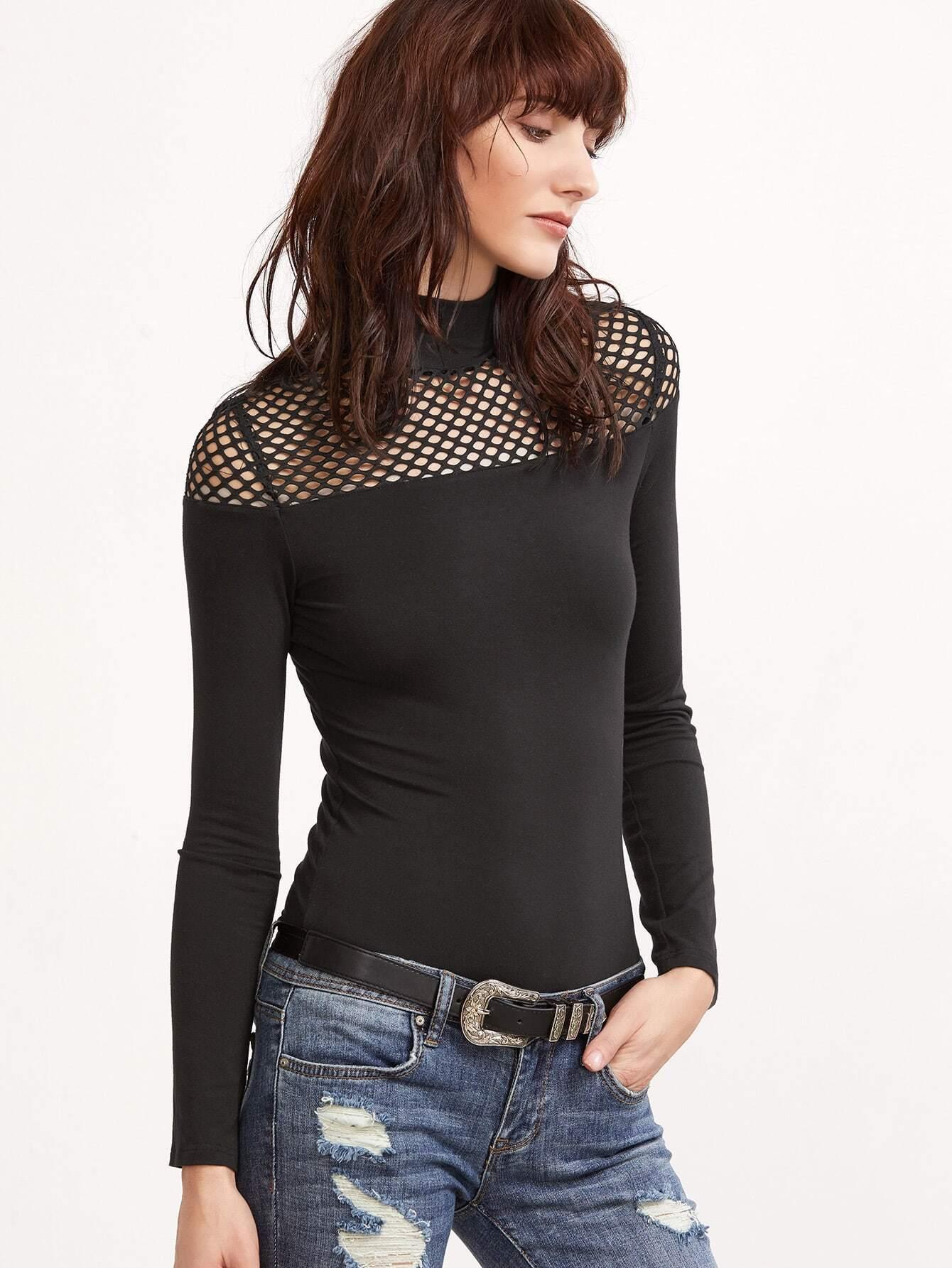 Фото Black High Neck Mesh Shoulder Slim Fit T-shirt. Купить с доставкой