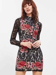 Black Embroidered Rose Applique Floral Lace Bodycon Dress