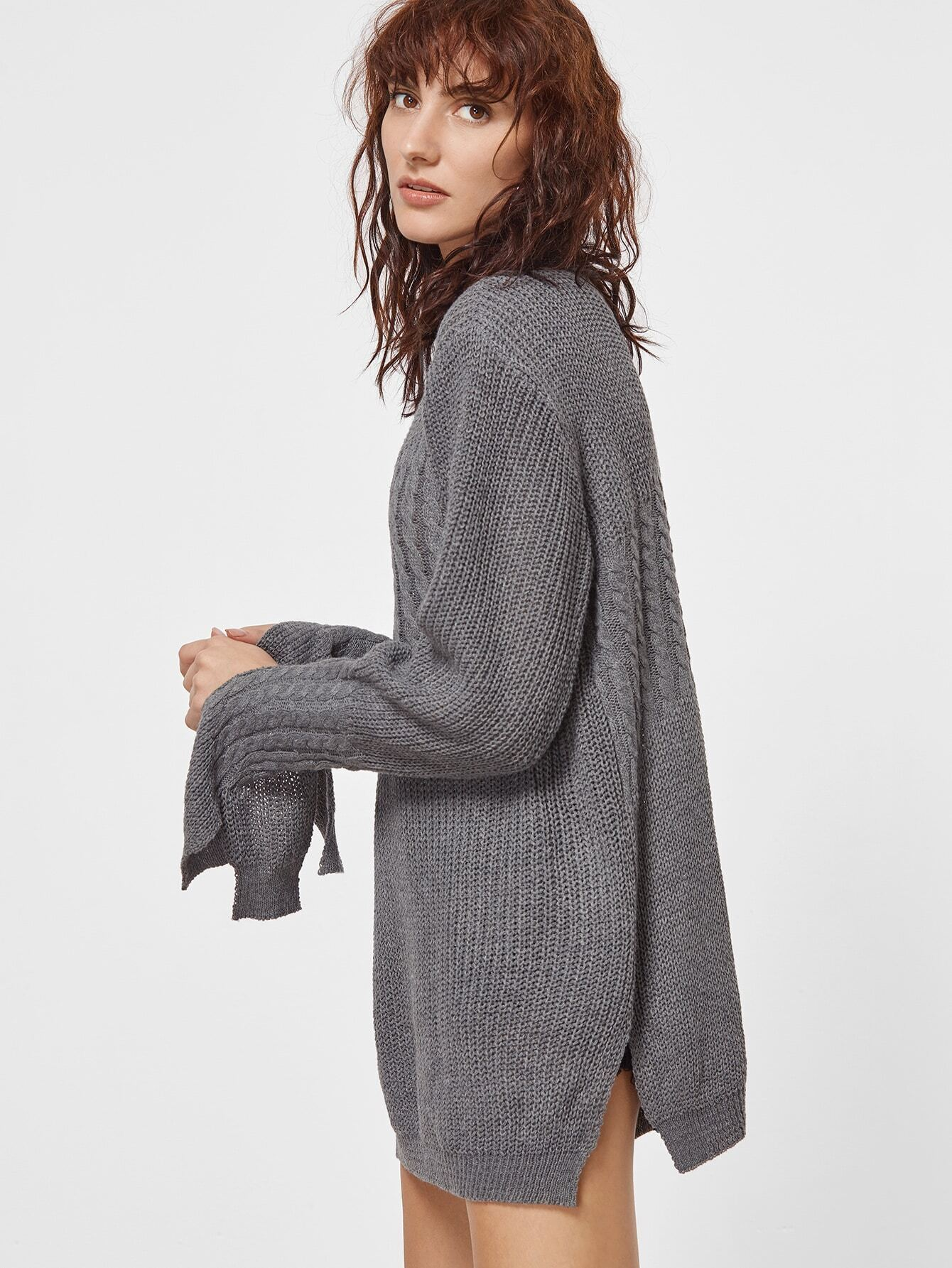 Dark Grey Slit Side Cable Knit Sweater -SheIn(Sheinside)