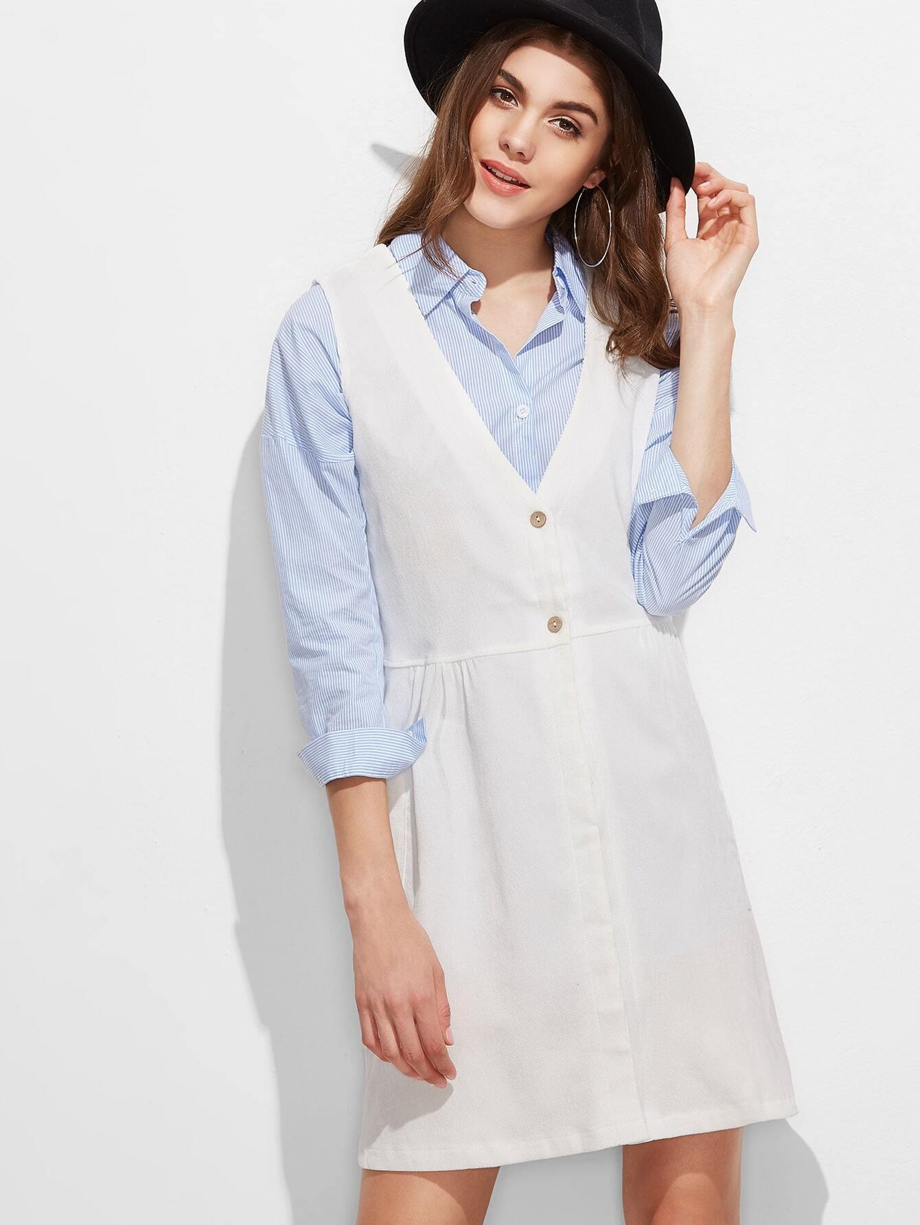White Deep V Neck Pinafore DressWhite Deep V Neck Pinafore Dress<br><br>color: White<br>size: one-size