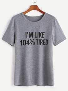 T-shirt Slogan Druck-hell grau