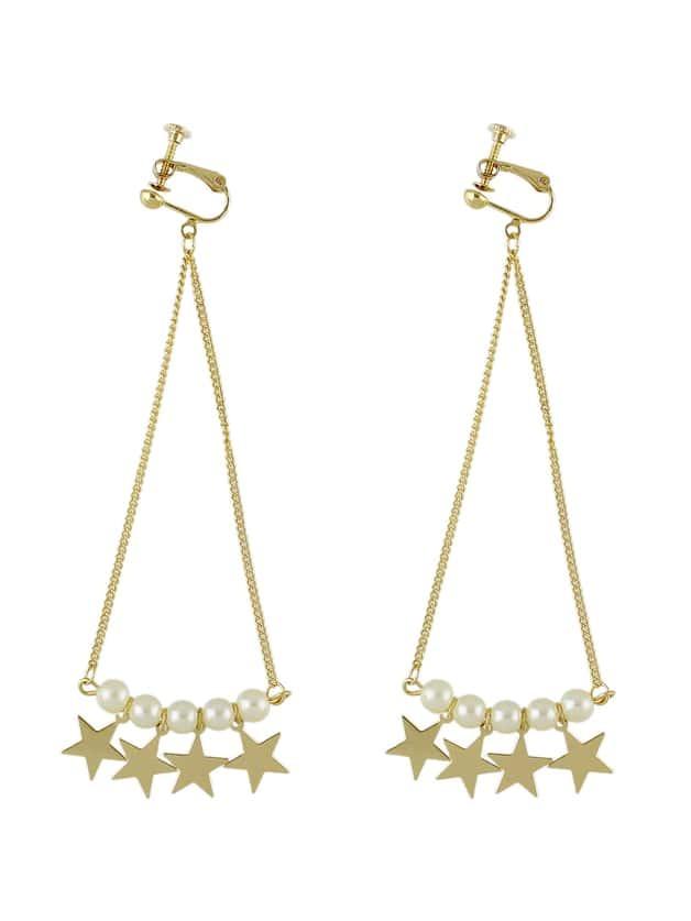 Gold Style Pearl Star Shape Long Clips Earrings