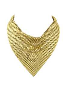 Gold Color Shiny Chunky Statement Collar Necklaces