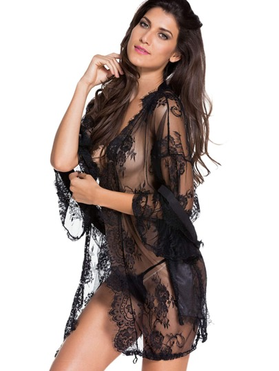 Lace Robe With Self Tie