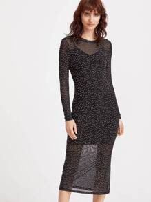 Polka Dot Print Side Slit Sheath Dress With Cami