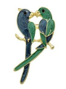Broche large amoureux d'oiseaux