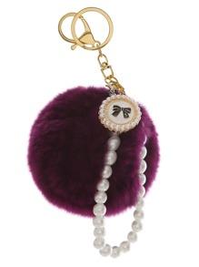 Porte-clés avec faux perle perlée pompom