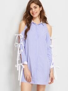 Blue And White Striped Bow Tie Split Sleeve Shirt Dress