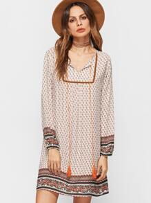 Tribal Print Fringe Trim V Neck Dress