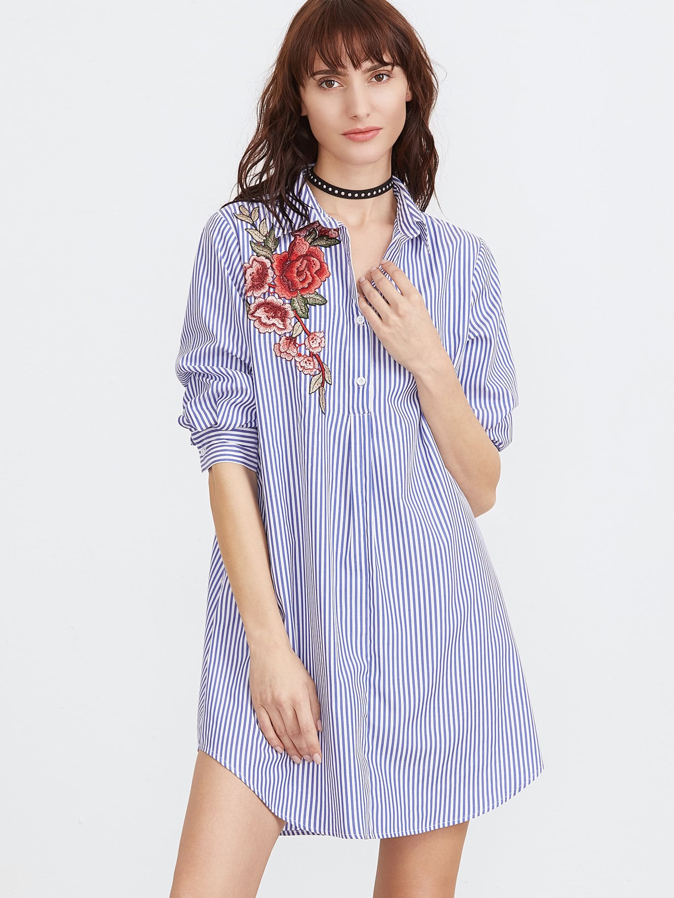 Striped embroidered applique shirt dress shein sheinside for Blue dress shirt outfit