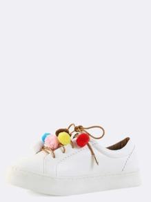 Pom Pom Platform Sneakers WHITE