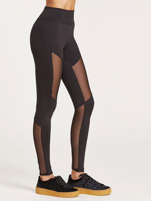 Wide Waistband Mesh Insert Leggings, Lais