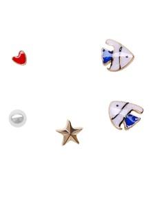 Multi Shape Plated Stud Earring Set