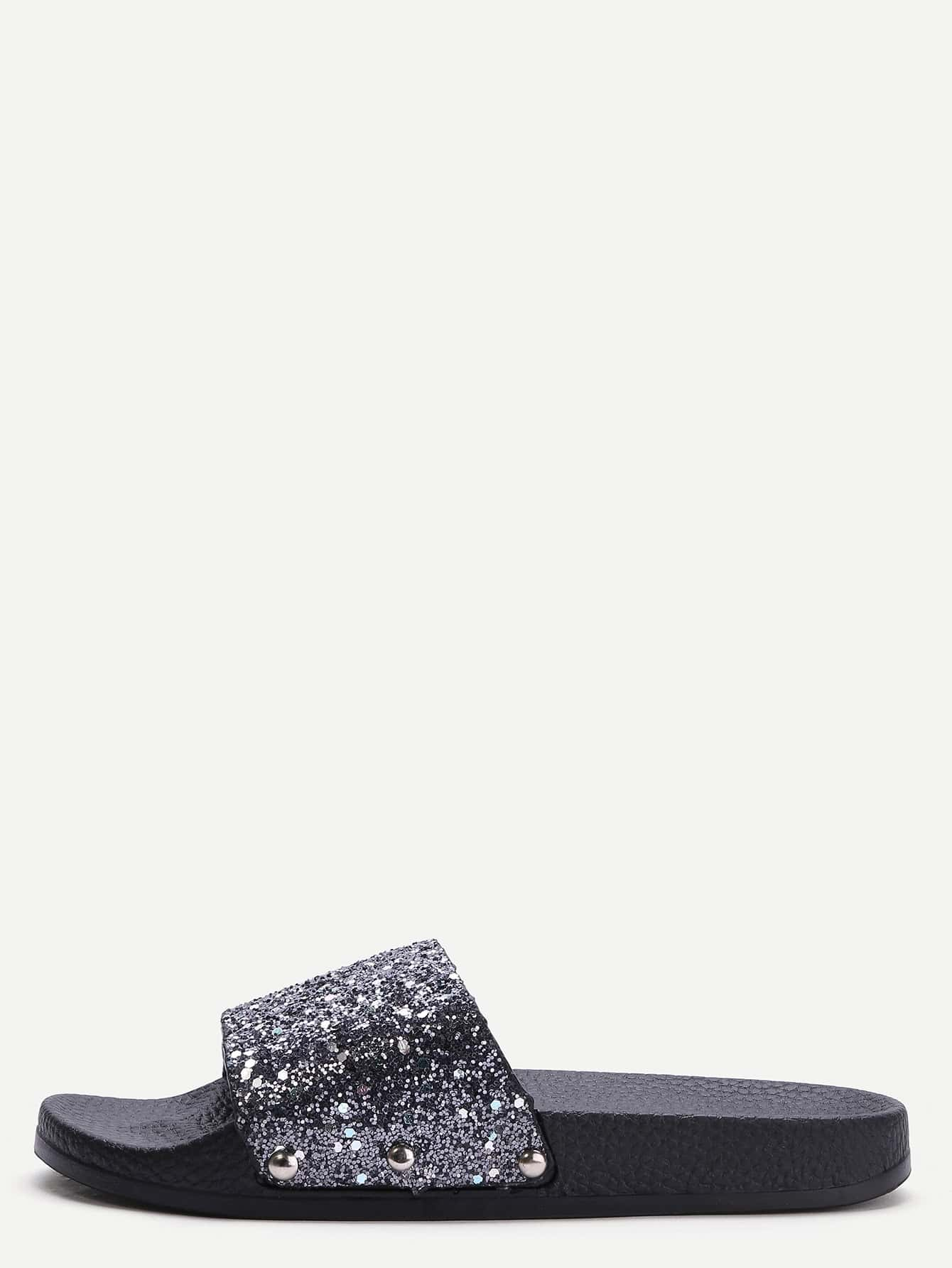 Black PU Rubber Peep Toe Glitter/Sparkle Casual Sandals.