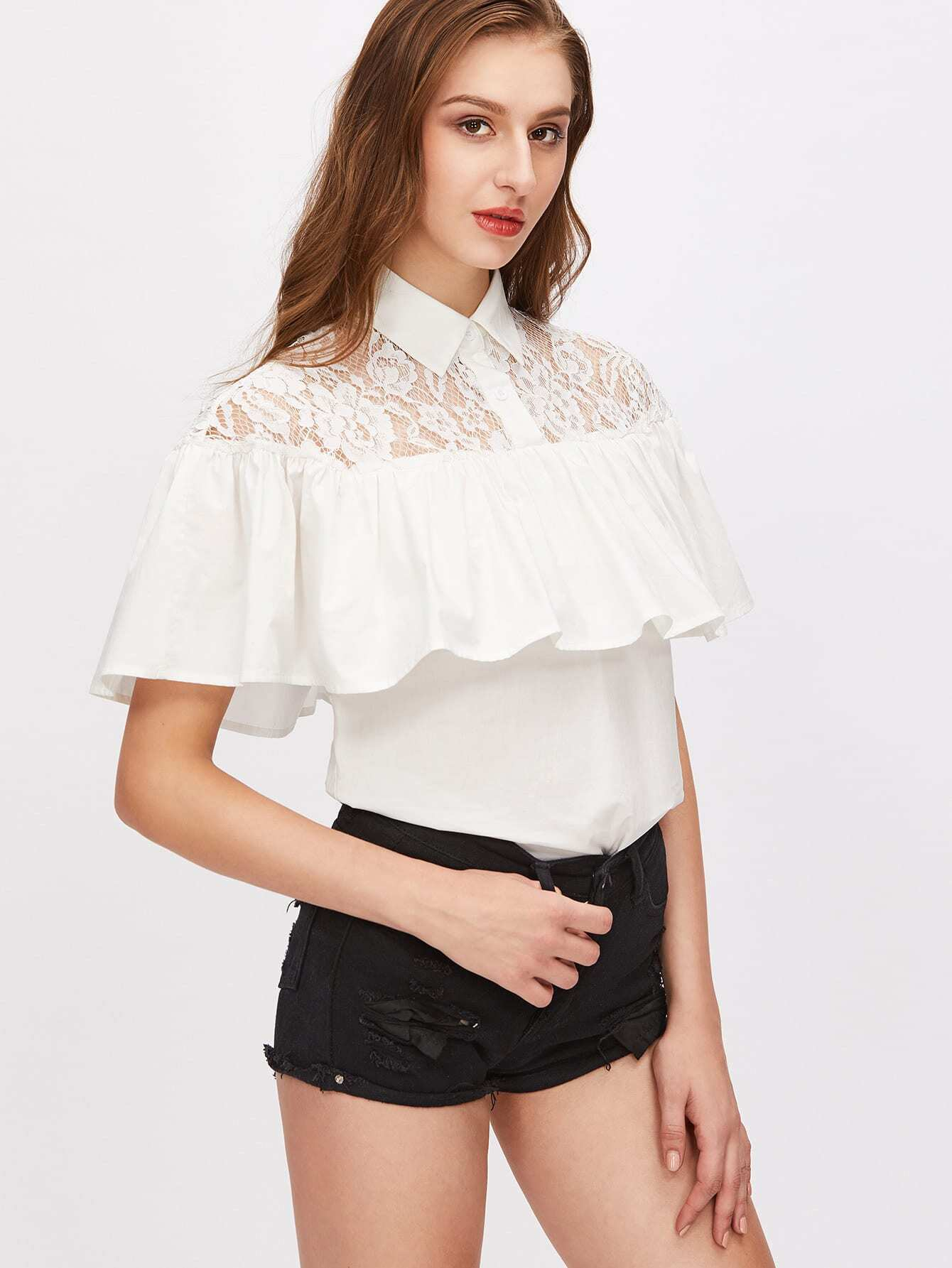 White Pointed Collar Lace Shoulder Ruffle Blouse