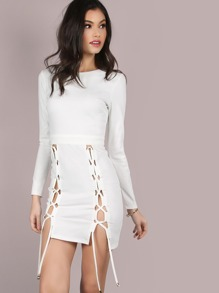 Double Tie Sleeve Mini Dress IVORY