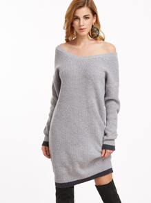 Grey Contrast Trim Drop Shoulder Sweater Dress