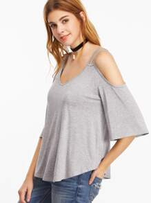 Heather Grey Strappy Cold Shoulder T-shirt