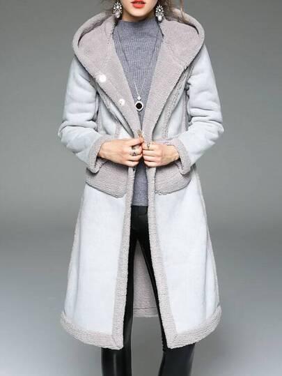 Grey Pockets Shift Hooded Coat