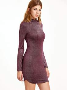 Metallic Burgundy Mock Neck Long Sleeve Bodycon Dress