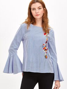Blue Striped Cutout Tied Back Bell Sleeve Embroidered Blouse