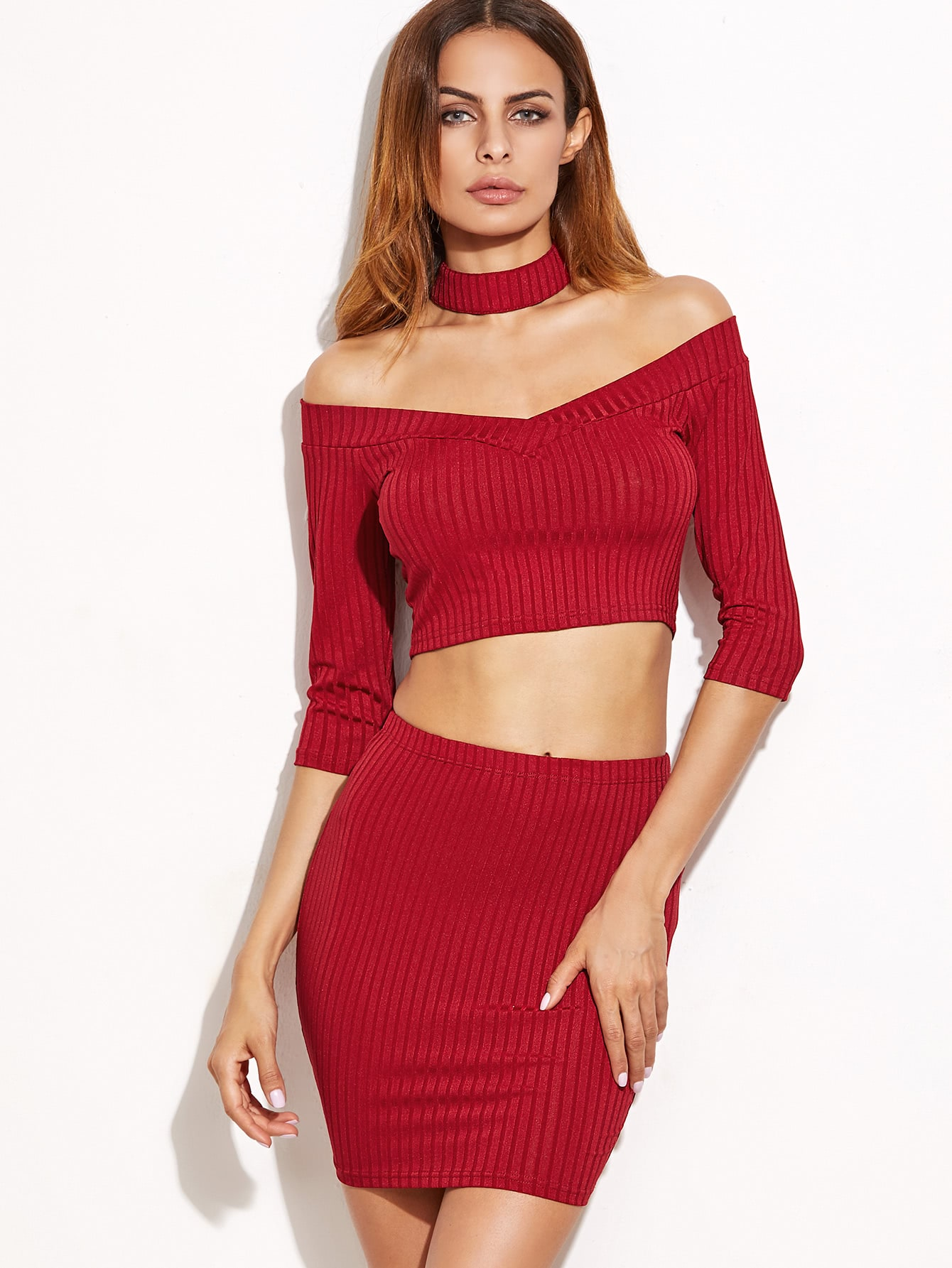 Burgundy Ribbed Knit Off The Shoulder T-shirt With Skirt twopiece161102701