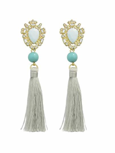Blue Long Chain Tassel Earrings Women