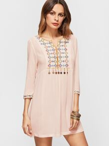 Apricot Tribal Embroidery 3/4 Sleeve Coin Trim Dress